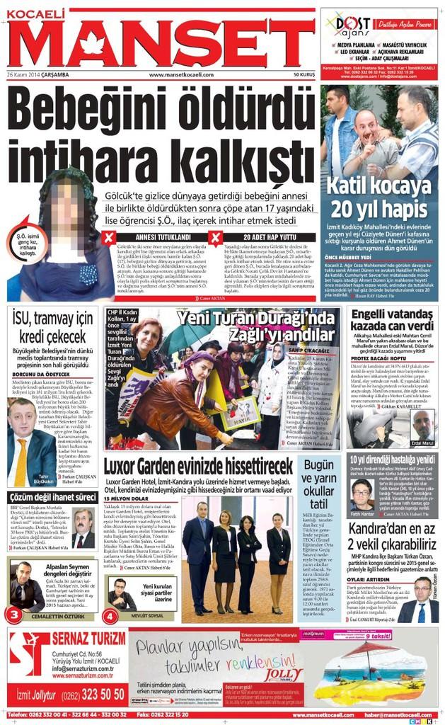 26/11/2014 - Anadolu gazeteleri manşetleri