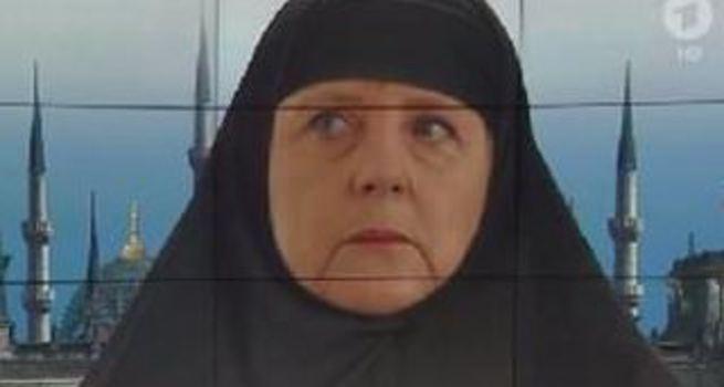 ARD Merkel'e kara çarşaf giydirdi