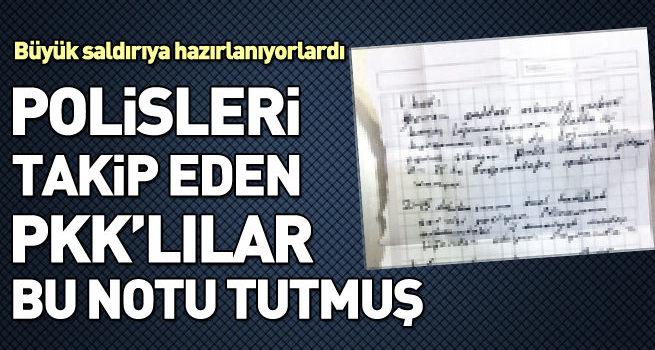 Diyarbakır'da yakalanan 3 PKK'lı polisleri takip edip not tutumuşlar