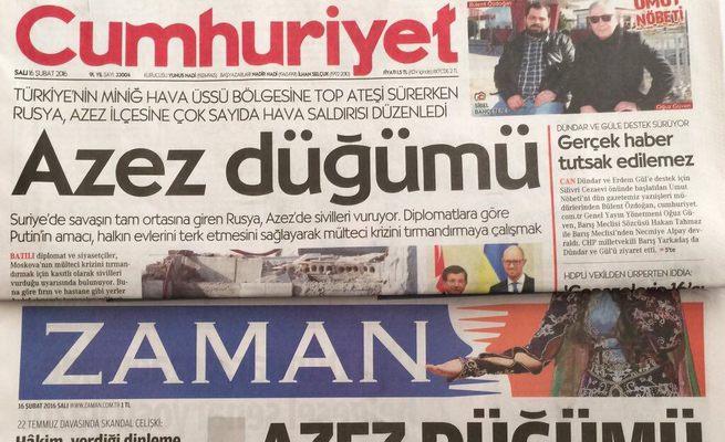 Cumhuriyet ile Zaman'ın manşeti aynı!