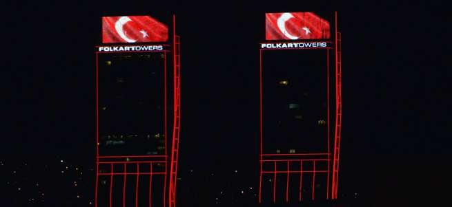 Folkart kuleleri kırmızı beyaz