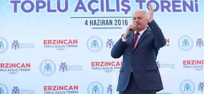 Başbakan Binali Yıldırım memleketi Erzincan'da toplu açılış törenine katıldı