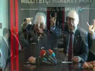 MHP aday� Ekmeleddin �hsano�lu �Bozkurt� i�aretini yapamad�