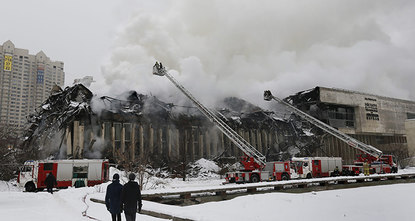 One of Russia's largest academic libraries, the Moscow library known as INION —the Institute of Scientific Information on Social Sciences— went up in flames on Friday evening.