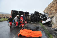 At least thirteen people have died in a pileup involving a minibus, an automobile and a concrete mixer in Turkey's southeastern province of Şanlıurfa.  The officials said that nine Syrian...