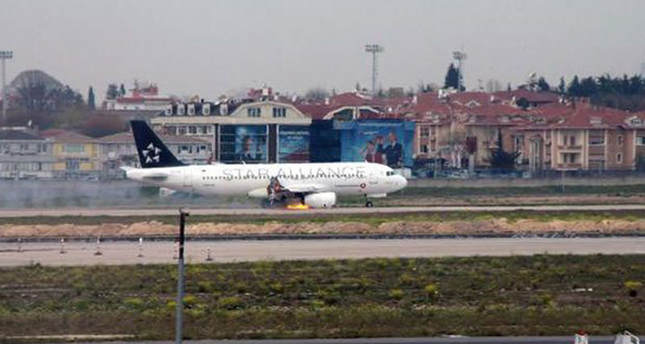 Turkish Airlines plane's engine catches fire