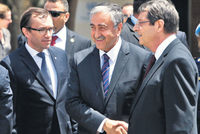 In efforts to bring about a permanent solution on the long-divided island, Turkish Cypriot President Mustafa Akıncı (center) and Greek Cypriot President Nicos Anastasiades (right) met on Thursday...