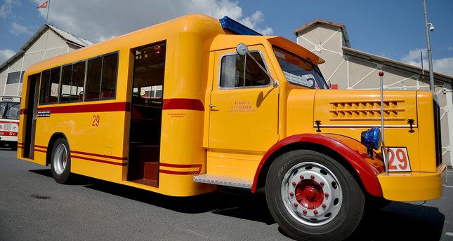 Nostalgic public transport with vintage busses