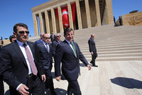 Turkey's new caretaker government held its first meeting on Tuesday to prepare to rule until snap polls in November.  Prime Minister Ahmet Davutoğlu formed the so-called