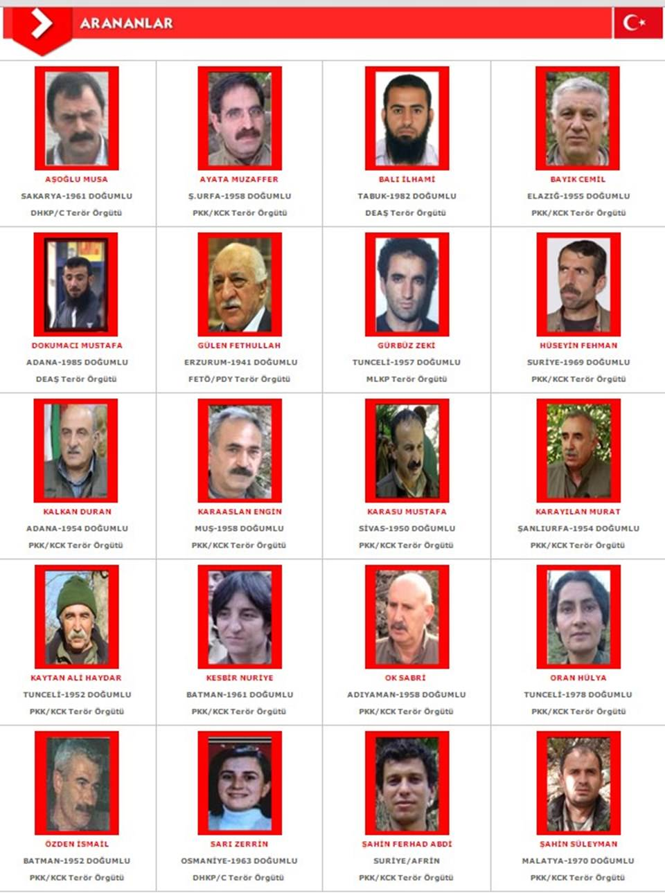 Interior ministry issues a list of turkey s most wanted - The interiorlist ...