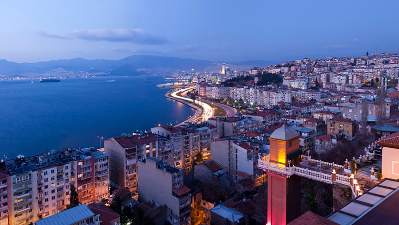 A view of Izmir from the historic Asansör (Elevator) (Stock Photo)