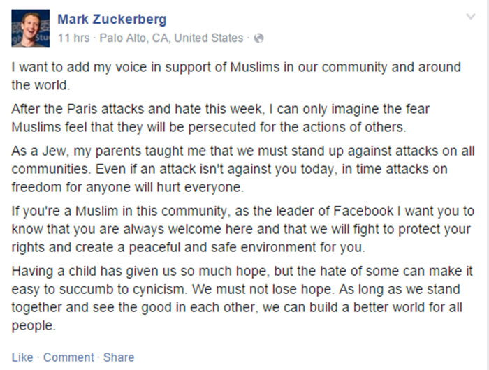 Facebook CEO Zuckerberg offers support to Muslims on social network