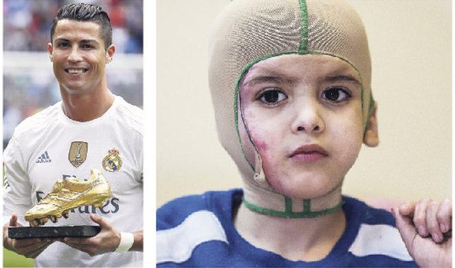 Ahmad Dawabsheh (R) and Cristiano Ronaldo