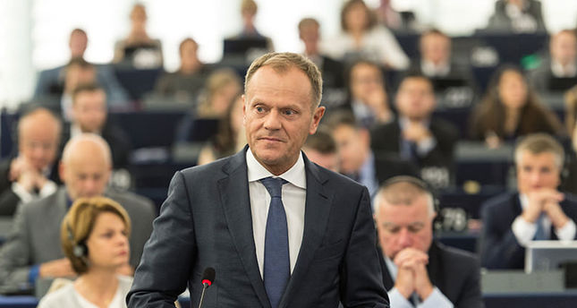 EU Council President Donald Tusk delivers his speech during the plenary session about the humanitarian situation of refugees within the EU. (EPA photo)