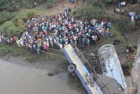 A packed passenger bus plunged off a bridge into a river in western India Friday killing at least 37 people, an official said, in one of the deadliest road accidents in recent years.  The...