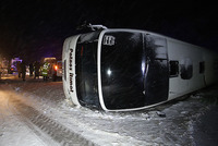 Two passenger buses have rolled over after sliding on an icy road in the central Anatolian province of Kayseri, leaving 69 passengers wounded, Turkish health officials said Sunday.  One of the...