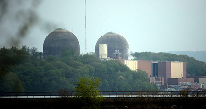 An apparent overflow at a nuclear power plant north of New York City spilled highly radioactive water into an underground monitoring well, but nuclear regulators said the public isnt at risk.br...