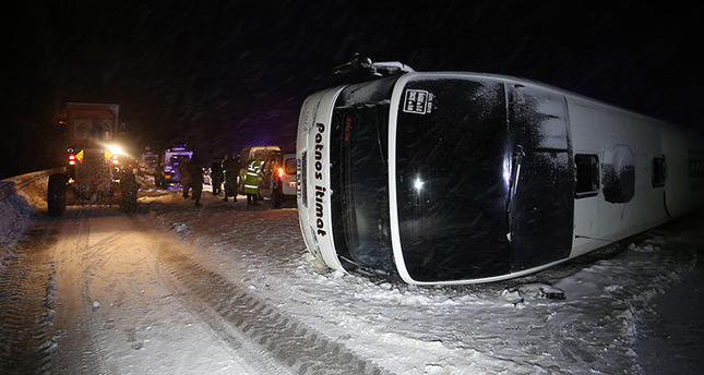 2 buses roll over due to icy roads in central Turkey