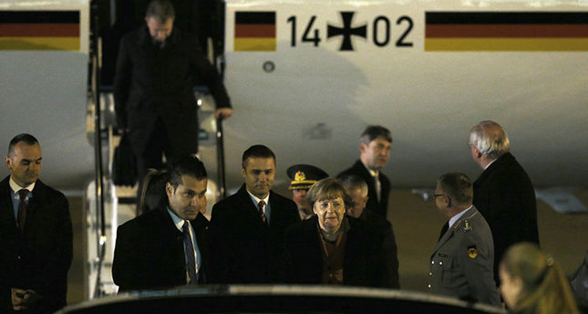 German Chancellor Merkel arrives in Ankara