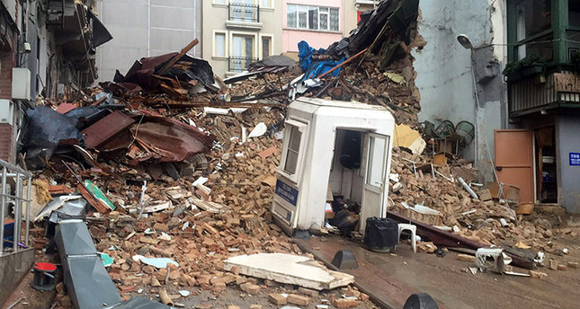 Building collapses near Istanbul's Istiklal Ave.