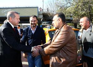 President Erdoğan visits taxi stand in Ankara