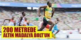 200 metrede altın madalya Bolt'un