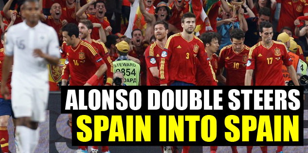Alonso double steers Spain into semis