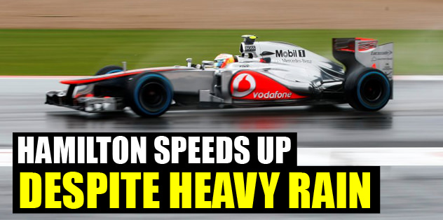 Hamilton speeds up despite heavy rain