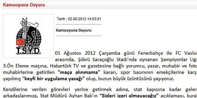 TSYD'den Fenerbahçe'ye kınama