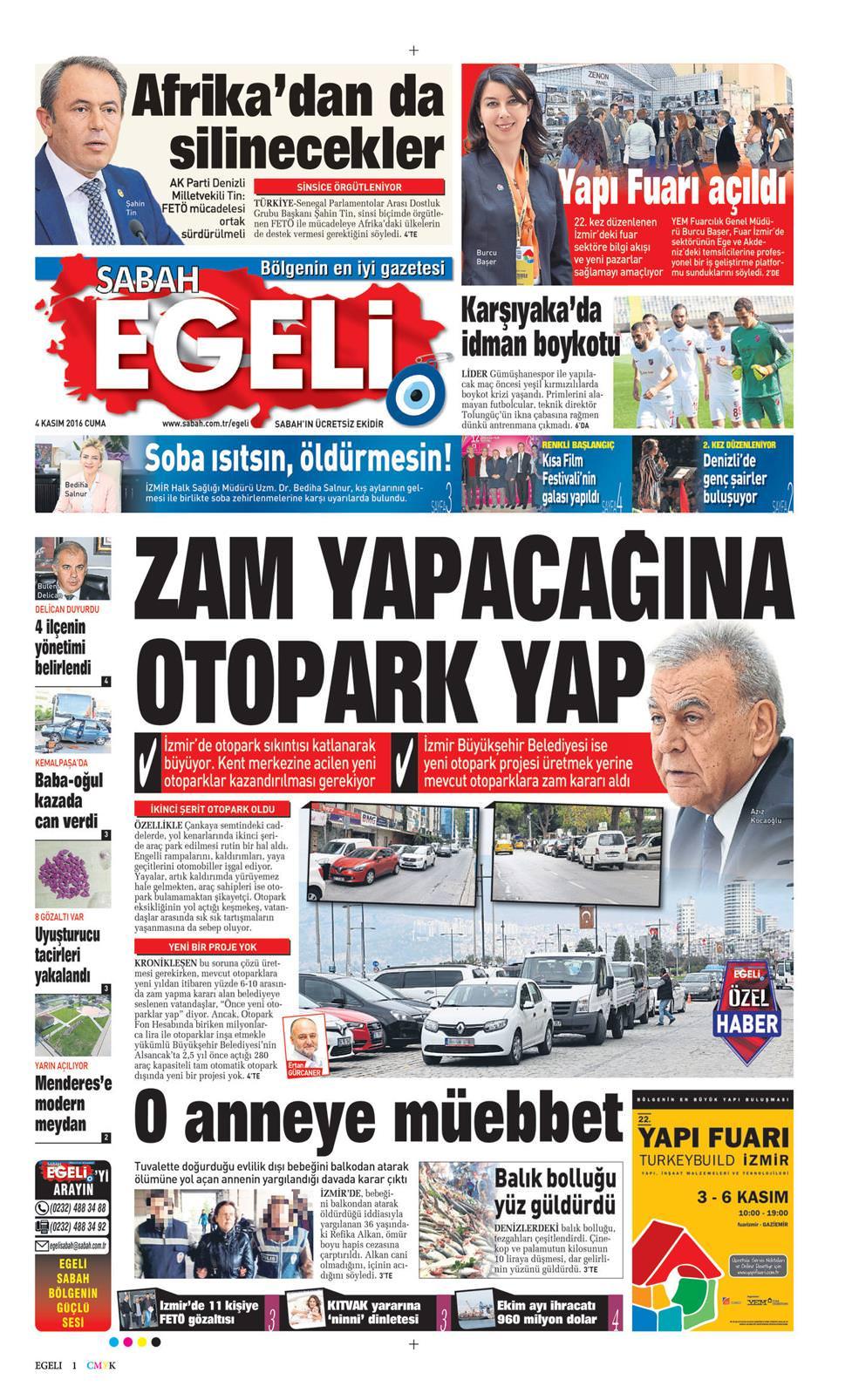 05 Nisan 2019 Cuma Sabah Egeli Gazetesi Manşet