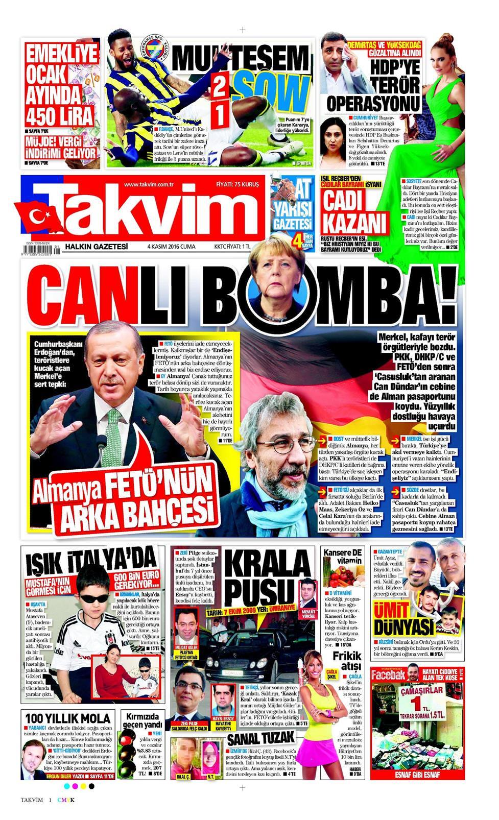 23 şubat 2019 Cumartesi Takvim Gazetesi Manşet