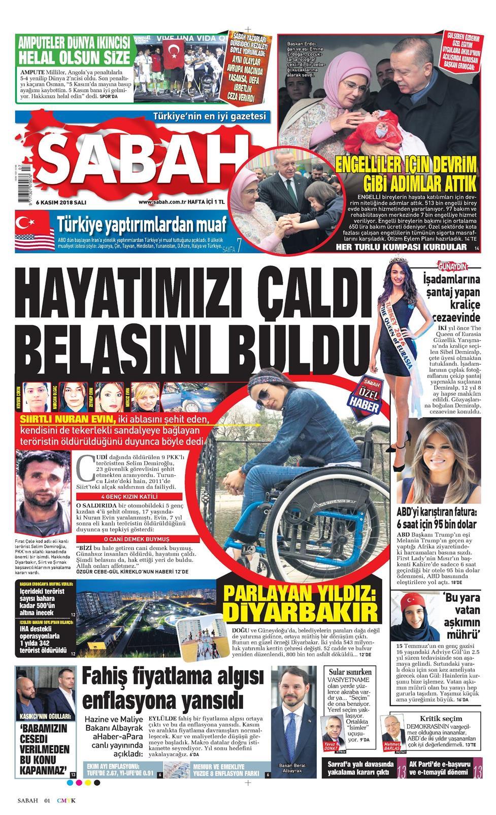 10 Nisan 2019 çarşamba Sabah Gazetesi Manşet