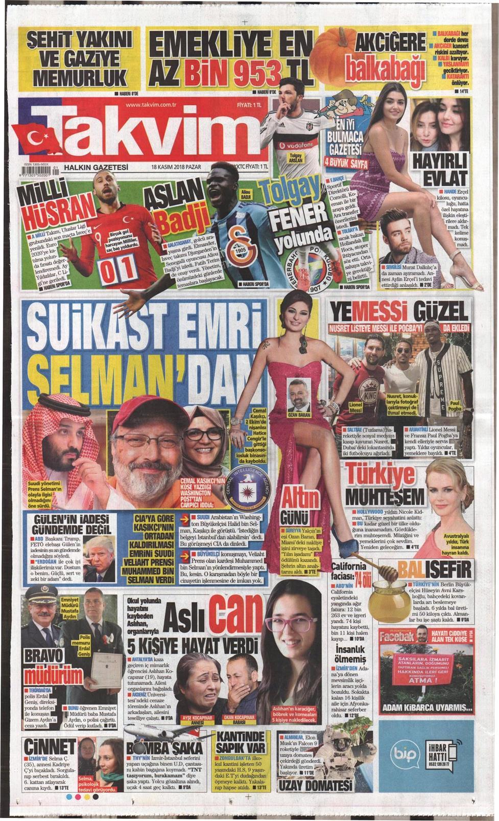 13 Nisan 2019 Cumartesi Takvim Gazetesi Manşet