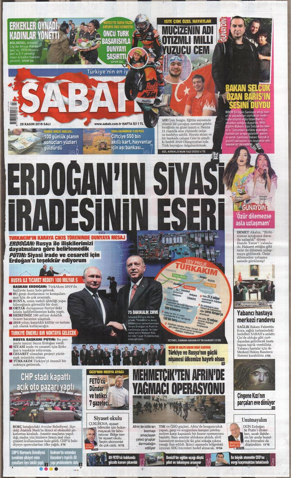 13 Nisan 2019 Cumartesi Sabah Gazetesi Manşet