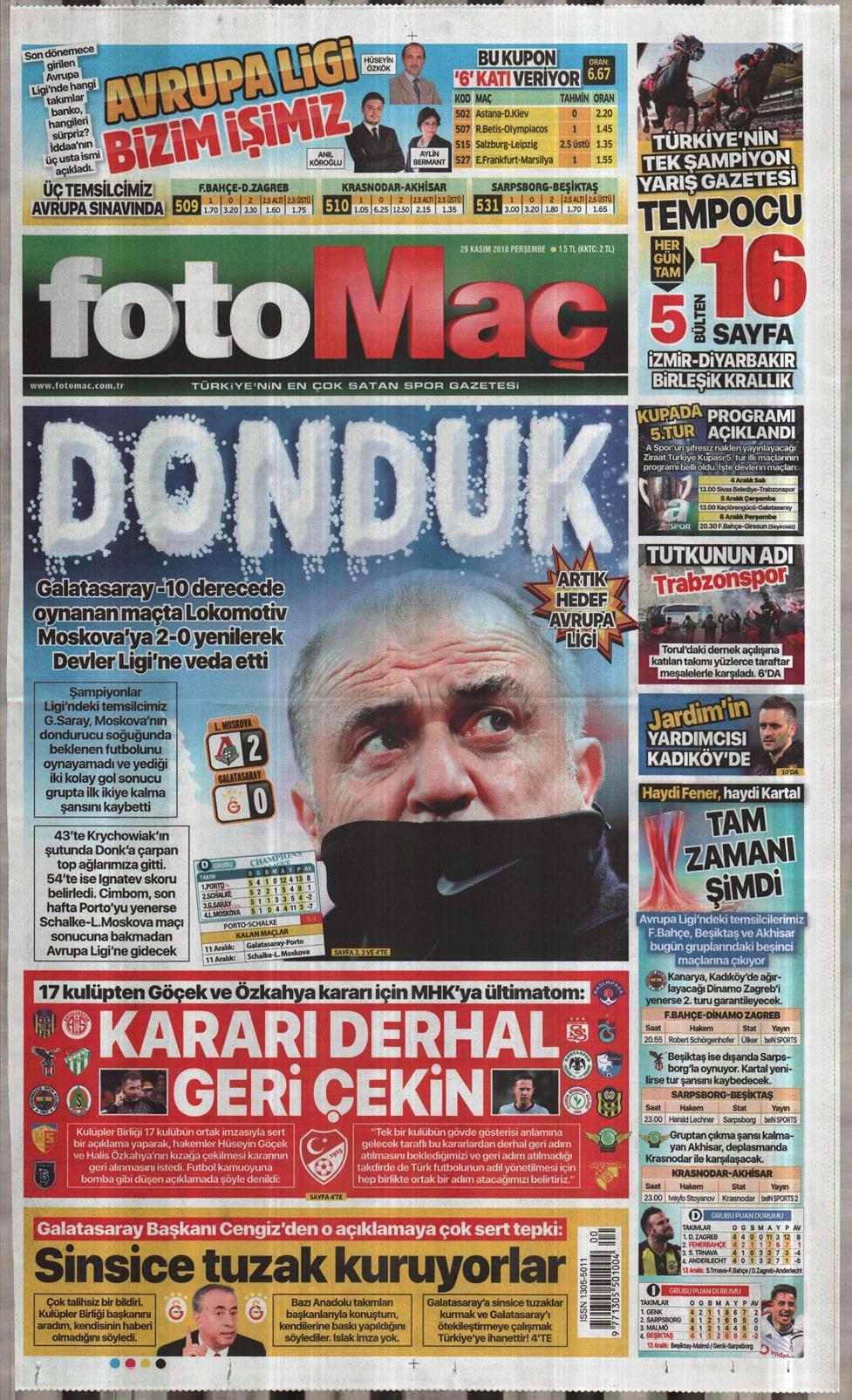 12 Nisan 2019 Cuma Fotomaç Gazetesi Manşet