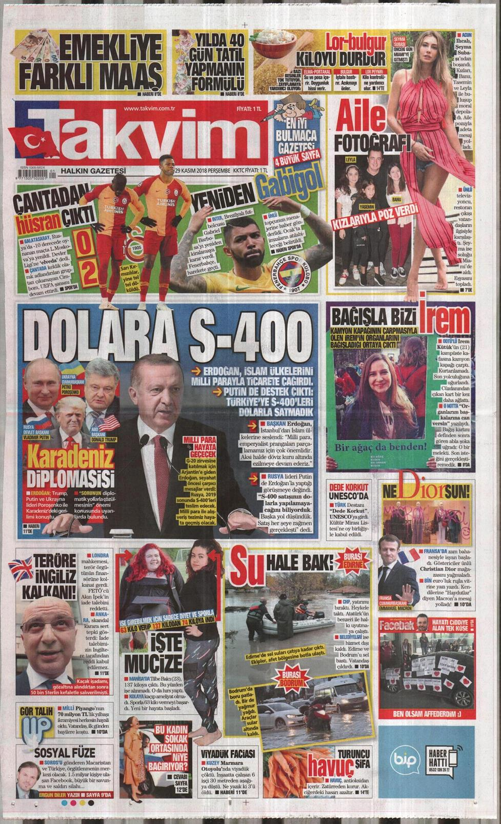 12 Nisan 2019 Cuma Takvim Gazetesi Manşet