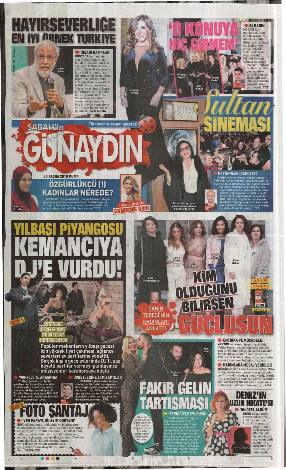 09 Nisan 2019 Salı Sabah Günaydın Gazetesi Manşet