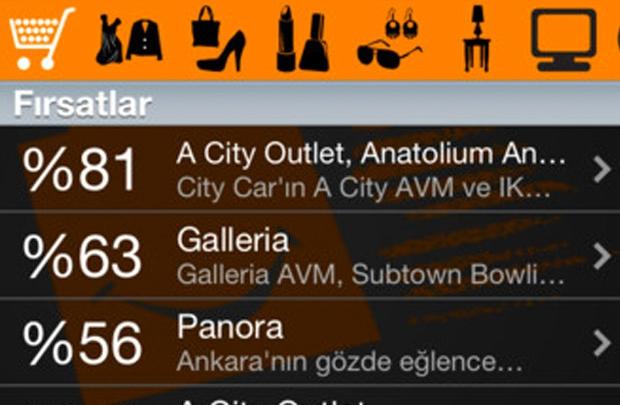 AVM fırsatları için mobil uygulama