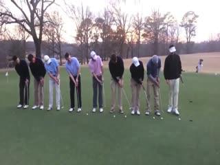 9 Golfçü, aynı anda vuruş yaparsa
