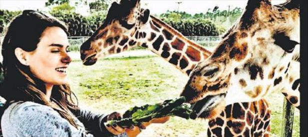 Zürafayı besledi