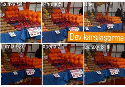 Kamera kar��la�t�rmas�: Galaxy S4, HTC One, Xperia Z, iPhone 5, Lumia 920, Galaxy S3