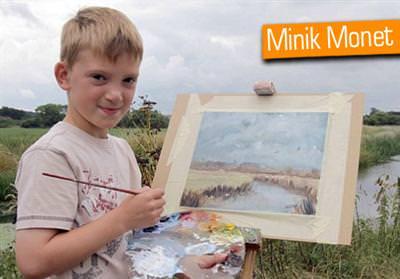 10 ya��ndaki ressam, milyoner oldu