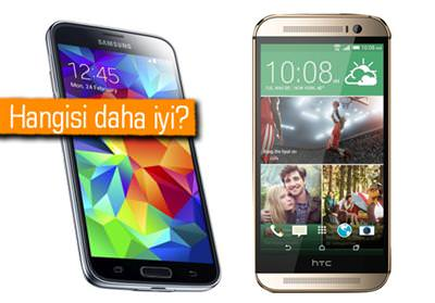 Galaxy S5 ile HTC One (M8) kar�� kar��ya