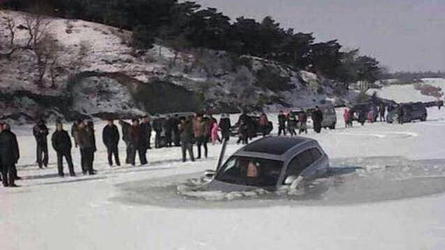 Audi Q7 buz k�r�l�nca g�le d��t�