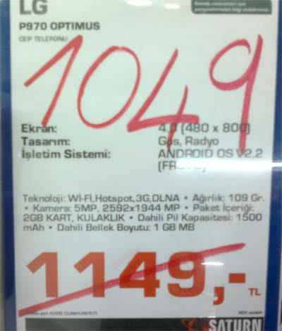 Lg p970 optimus white fiyatları