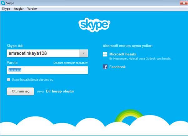 Facebook hesab�n�, Skype'a ba�lama