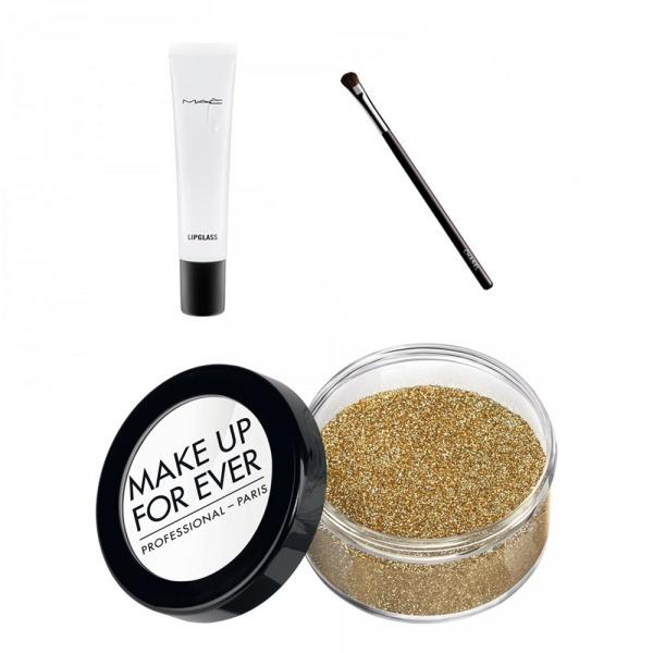 Sol Üstte M.A.C Lip Glass, Sağ Üstte Chanel Small Eyeshadow Blush, Make Up Forever Glitters in Gold
