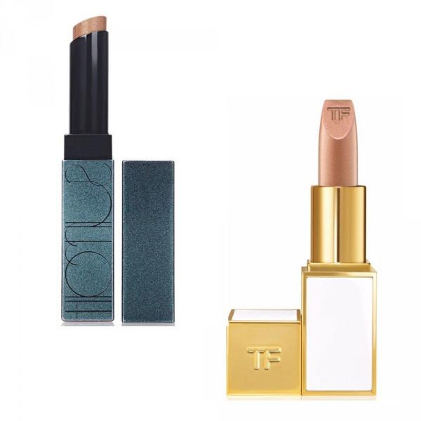 Solda Surratt Beauty Prismatique Lips in Café Société, Sağda Tom Ford Soleil Lip Foil