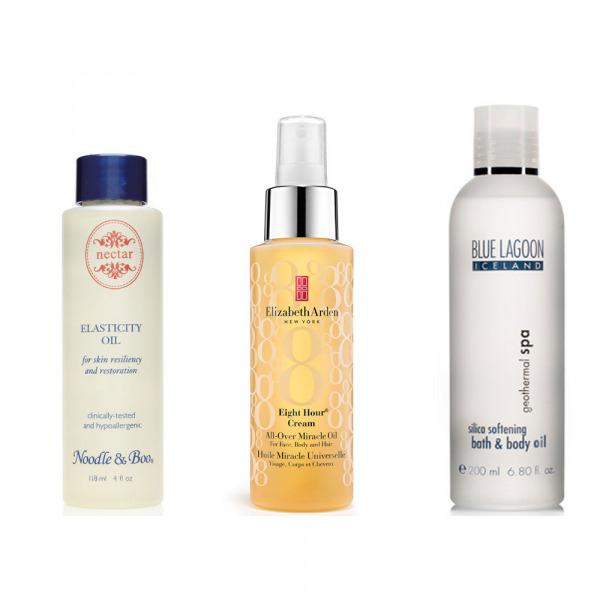 Sağdaki Noodle & Boo Elasticity Oil, Ortadaki Elizabeth Arden Eight Hour Cream All Over Miracle Oil, Soldaki Blue Lagoon Iceland Silica Softening Bath & Body Oil
