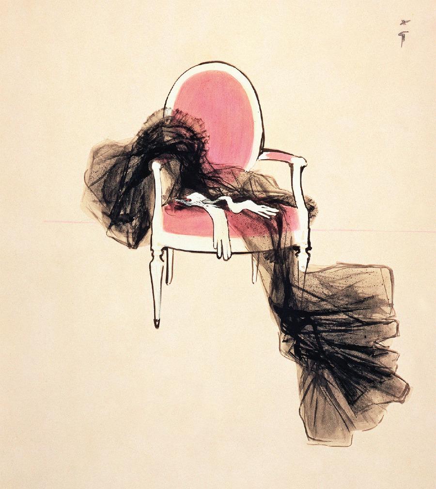 On sekiz düğmeli çocuk eldivenleri ve bir Louis XVI sandalyesinde terk edilen siyah tüllerle, René Gruau'nun Diorama reklamı, Dior'un kolay dünyasını somutlaştırdı. Grandpierre, Louis XVI sandalye anahtarını Dior'un ikonografisine yapmıştı